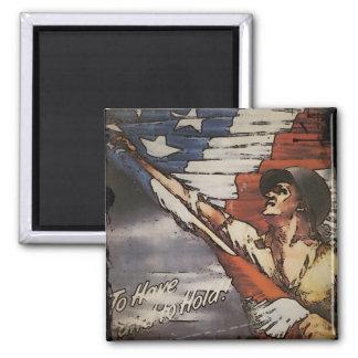 Patriotic Soldier Holding Flag Magnet