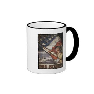 Patriotic Soldier Holding Flag Coffee Mug