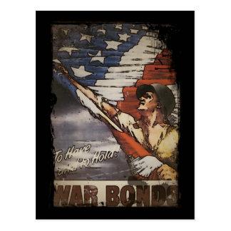 Patriotic Soldier Holding Flag Postcard