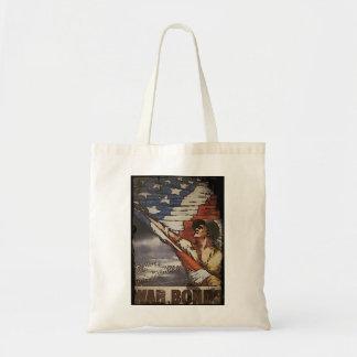 Patriotic Soldier Holding Flag Tote Bag
