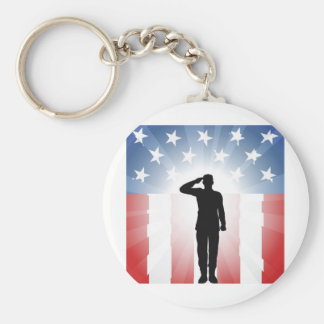 Patriotic soldier salute key chain