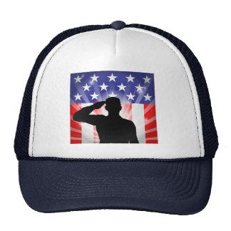 Patriotic Soldier Saluting American Flag Hat