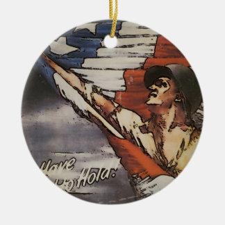 Patriotic Soldier Unfurling Flag Ceramic Ornament