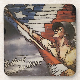 Patriotic Soldier Unfurling Flag Drink Coaster