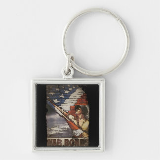 Patriotic Soldier Unfurling Flag Keychain