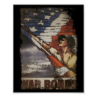 Patriotic Soldier Unfurling Flag Poster