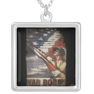 Patriotic Soldier Unfurling Flag Silver Plated Necklace