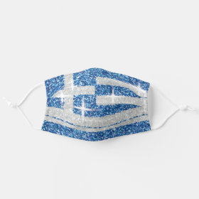 Patriotic Sparkly Glitter Greek Flag Pattern Cloth Face Mask