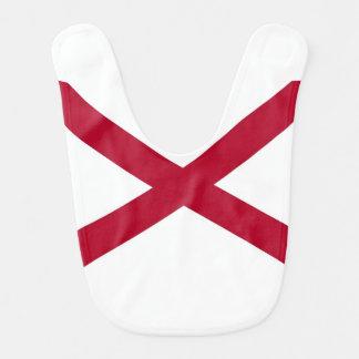 Patriotic, special baby bib with Flag of Alabama