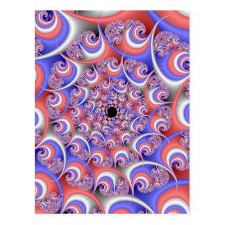 Patriotic Spiral Fractal Postcard