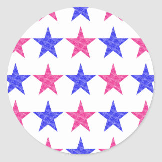 Patriotic Stamped Stars Classic Round Sticker