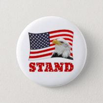 Patriotic STAND American Flag Badge Pin