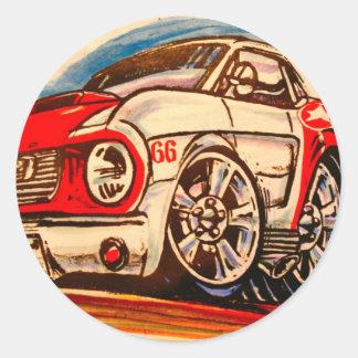 patriotic 'stang classic round sticker