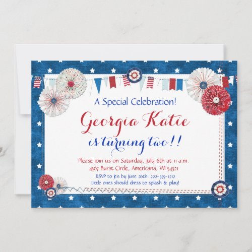 Patriotic Star Birthday Invitations _ Country
