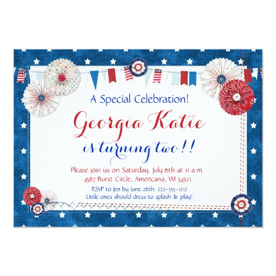 Patriotic Star Birthday Invitations - Country