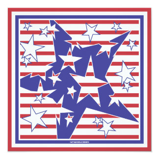 Patriotic Star Explosion 4th of July BBQ Party 5.25x5.25 Square Paper Invitation Card