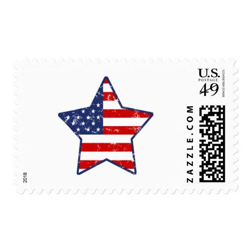 Patriotic Star Postage Stamps
