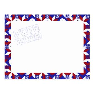 Patriotic Star Quilt VOTE 2018 postcard