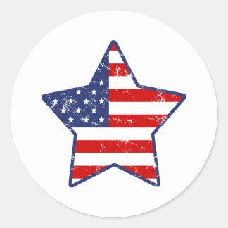 Patriotic Star Classic Round Sticker