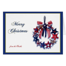 Patriotic Star Wreath Merry Christmas Greeting Card at Zazzle