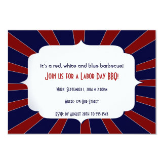 Patriotic Starburst Red White and Blue Labor Day 3.5x5 Paper Invitation Card