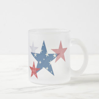 Patriotic Stars 10 Oz Frosted Glass Coffee Mug