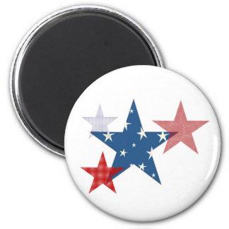 Patriotic Stars 2 Inch Round Magnet
