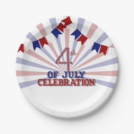 Patriotic Stars 4th of July Paper Plates