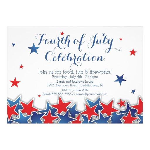 Patriotic Stars 4th of July Party Invitation
