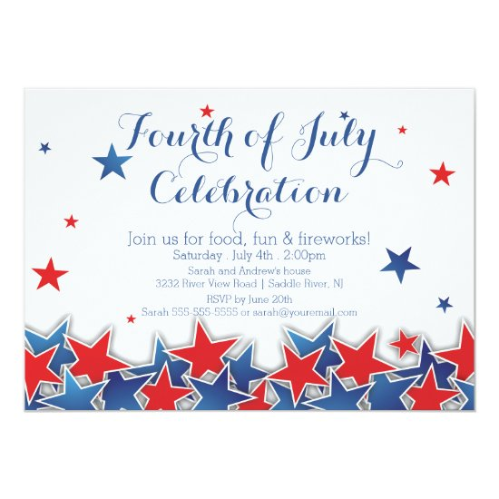 Patriotic Stars 4th of July Party Invitation