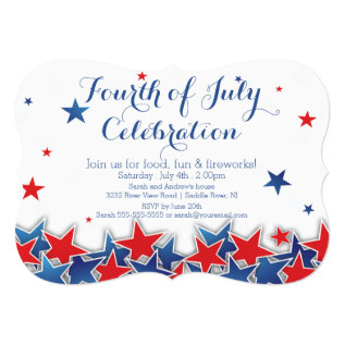 Patriotic Stars 4th Of July Party Invitation at Zazzle