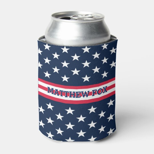 Patriotic Stars And Bars Usa Flag Colors Monogram Can Cooler Zazzle Com