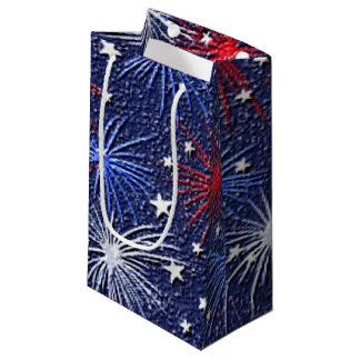 Patriotic stars and Fireworks small gift bag