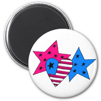 Patriotic Stars and Heart Magnet
