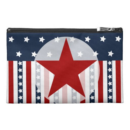 Patriotic Stars and Stripes American Flag Design Travel Accessory Bag