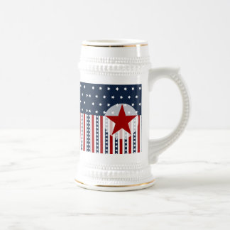 Patriotic Stars and Stripes American Flag Design Beer Stein