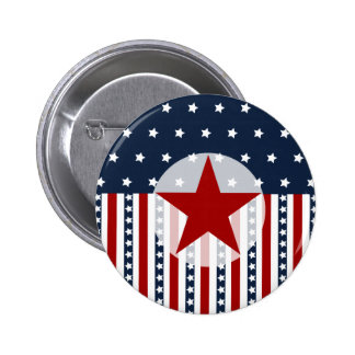 Patriotic Stars and Stripes American Flag Design 2 Inch Round Button