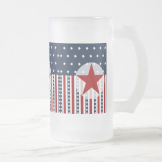 Patriotic Stars and Stripes American Flag Design Frosted Glass Beer Mug