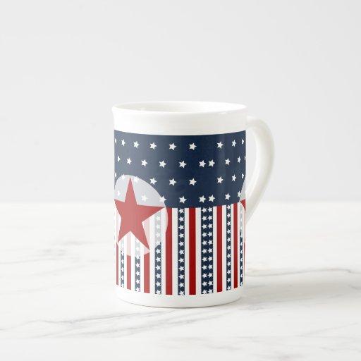 Patriotic Stars and Stripes American Flag Design Porcelain Mugs