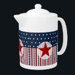 """Patriotic Stars and Stripes American Flag Design Teapot<br><div class=""""desc"""">Patriotic Stars and Stripes American Flag design for veterans, military personnel, and every American who is patriotic. Features stars and stripes in red, white, and blue, with a red star in the middle. &quot;patriotic&quot; &quot;stars and stripes&quot; &quot;red white and blue&quot; &quot;patriotism&quot; &quot;veteran&quot; &quot;military&quot; &quot;USA&quot; &quot;American&quot; &quot;Memorial Day&quot; &quot;Veteran&#39;s Day&quot; &quot;Fourth...</div>"""