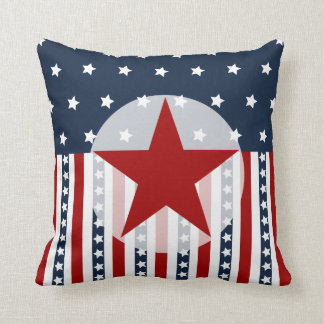Patriotic Stars and Stripes American Flag Design Throw Pillow