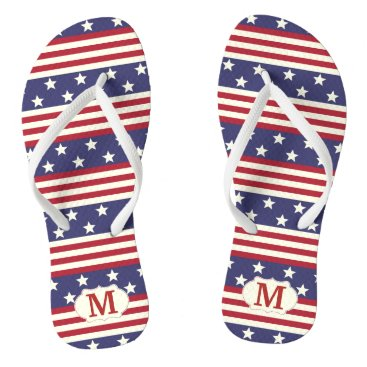 USA Themed Patriotic Stars and Stripes American | Monogrammed Flip Flops