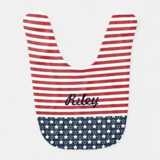 Patriotic Stars and Stripes Baby Bib