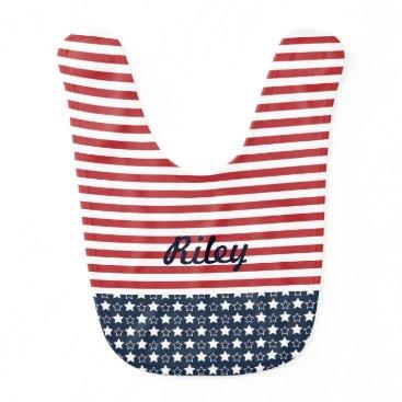 cbendel Patriotic Stars and Stripes Baby Bib