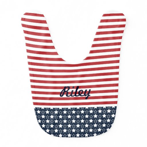 Patriotic Stars and Stripes Baby Bib