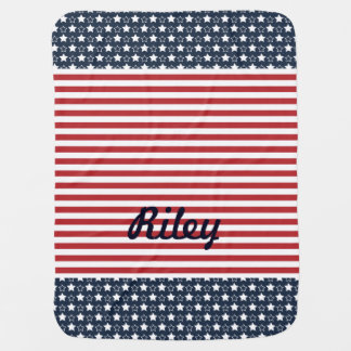 Patriotic Stars and Stripes Baby Blanket
