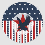 Patriotic Stars and Stripes Bald Eagle American Classic Round Sticker