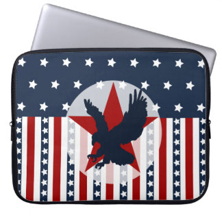 Patriotic Stars and Stripes Bald Eagle American Computer Sleeve