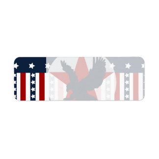 Patriotic Stars and Stripes Bald Eagle American Label