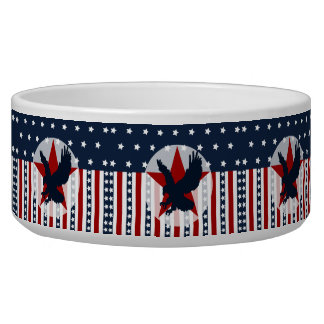 Patriotic Stars and Stripes Bald Eagle American Pet Food Bowl
